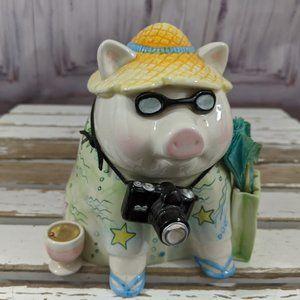 Mud pie vacation piggy bank pig beach